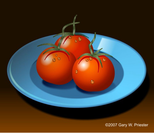 Blue Dish Red Tomatoes �2007 Gary W. Priester - All rights reserved